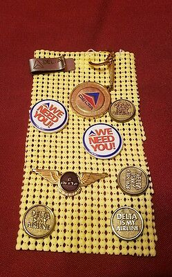 Lot Delta Air Lines 9 items : Wings pins money holder & key chain FREE SHIP