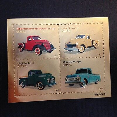 2016 US Pickup Trucks 24k Gold Foil Stamps Set of 4 Stamps Nice for Collection
