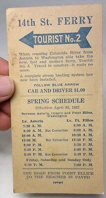 May 1932 Oregon-Washington ASTORIA- N. Beach FERRY COMPANY Schedule Card RARE