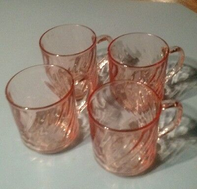 Arcoroc France Pink Rosaline Swirl Coffee cups Lot of four