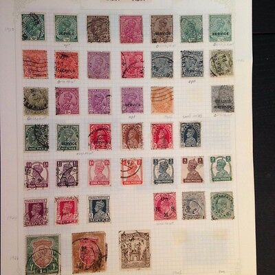 Stamps India, 4 page small collection, overprints, early, On HMS, Service etc