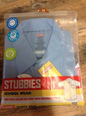 Blue Uniform Short Sleeve Shirt By Stubbies Sz 16