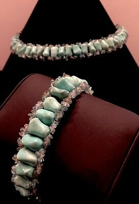 Genuine Turquoise &Apatite Choker And Bracelett W/ SS Clasp &Chain Designer Set