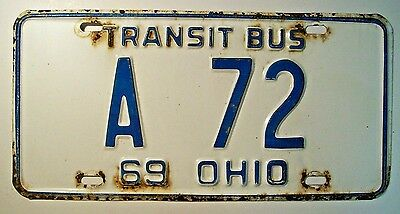 1969 Ohio Transit Bus License Plate A 72