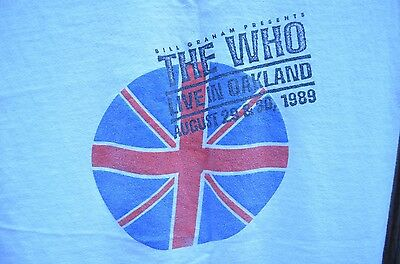 VTG 80's THE WHO BILL GRAHAM DAY ON THE GREEN OAKLAND TOUR T SHIRT LARGE