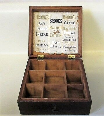 Antique Brooks Thread Divided Wooden Box For Spools