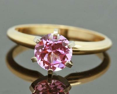 2.58ct Genuine Pink Sapphire Solitaire 14K 14KT Solid Yellow Gold Ring