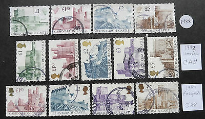 GB -3 sets of Castles, 1988-1997- used stamps
