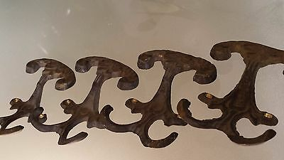 Lot Of 4 Antique Vintage Brass Double Wall Mount Hook Hangers