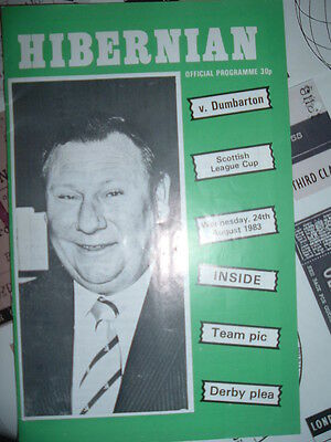 Hibernian v Dumbarton Aug 1983 League Cup Tommy Younger tribute issue