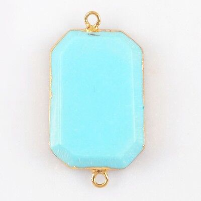 Blue Howlite Turquoise Faceetd Connector Gold Plated T025032