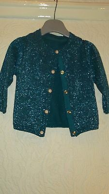 Girls Autograph Teal Glittery Cardigan Size 6-9 Months Bnwt