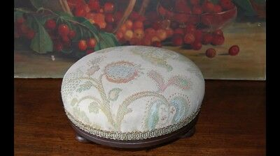 Vintage Petite Footstool, solid timber frame, tapestry covering