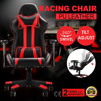 High Back Racing Gaming Chair Race Car Seat PU Leather Office Desk Reclining