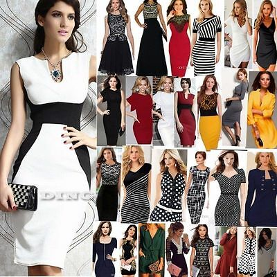 Women's Business Career Bodycon Evening Cocktail Party Wear to Work Office Dress