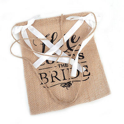 Here Comes the Bride Burlap Banner Sign Wedding Ceremony Rustic Page Boy Decor