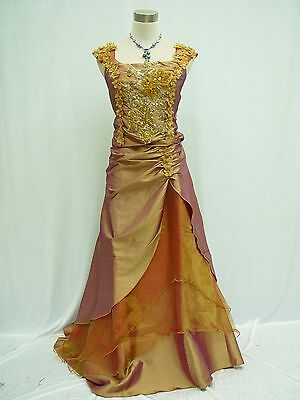 Cherlone Gold Satin Ball Gown Wedding/Evening Formal Party Bridesmaid Dress 8-10