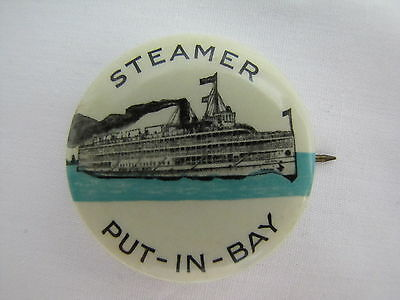Vtg 1940's Steamer Put In Bay Celluloid Pinback Sandusky Ohio Detroit MIchigan