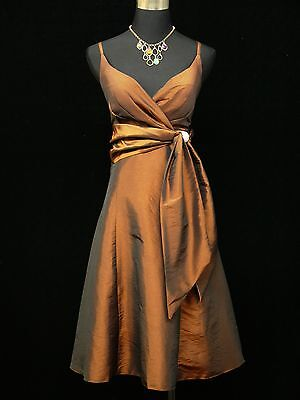 Cherlone Brown Satin Prom Ball Party Gown Cocktail Bridesmaid Evening Dress 8-10
