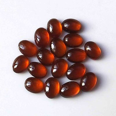 7X5 MM Oval 100% Natural Untreated Hessonite Garnet Cabs 17 Pieces Gemstone Lot