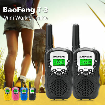 1 Pair Baofeng T-3 Walkie Talkie 1.9 Miles CTCSS VOX Flashlight 22CH FRS GMRS