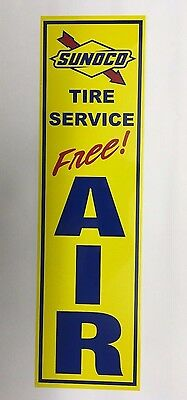 """Sunoco Tire Service"", Sunoco,Gas Station,Free,Air,Sign, Alum,Metal"
