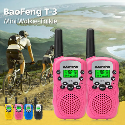 2x Baofeng T-3 Walkie Talkie CTCSS VOX LED 22CH FRS GMRS +Free Waterproof Case