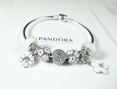Pandora Authentic Heart Bangle, White CZ Flower Charms & beads, Valentines gift