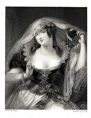 """""""The Mask"""" (Portrait of a Lady) Eng. by H. Cook after Harper - 1835"""