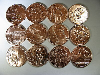 """12 1oz Copper Rounds """"12 Labors of Hercules"""" Set All 12 Rounds Limited and Rare"""