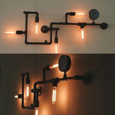 Industrial Steampunk Wall Art Lamp Retro Sconce Light Rustic Vintage Pipe Light