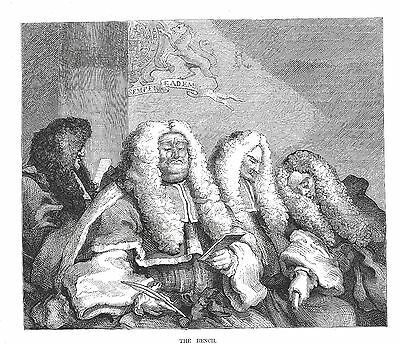 The Bench - Judges Deliberating - Engraving after William Hogarth - 1874