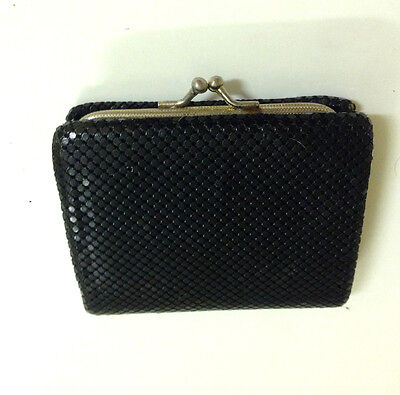Vintage Black Glomesh Tri Fold Wallet And Coin Purse