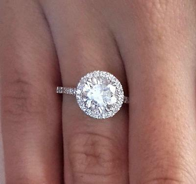 3.75 ct Round Cut Diamond Engagement Ring SI1/D 14K White Gold 260990