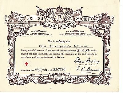 THE BRITISH RED CROSS SOCIETY pre-war certificate 1939
