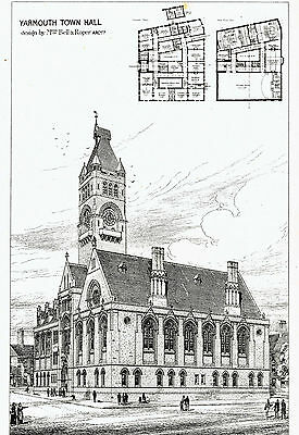 Yarmouth Town Hall, Norfolk - By Bell & Roper, Architects - Lithograph 1878