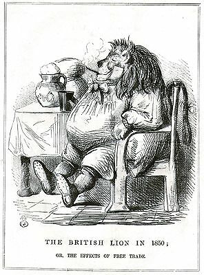 The British Lion in 1850 (The Effects of Free Trade) Engr. by John Leech - 1850