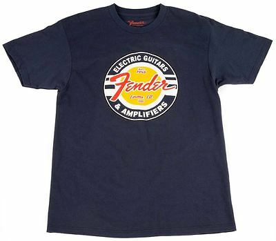Fender T-Shirt - Guitar and Amps Circle in Blue