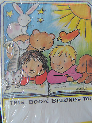 Vintage Antioch Bookplates 40  ~THIS BOOK BELONGS TO ~ L GIRL AND BOY READING