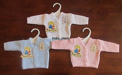 PREMATURE BABY CLOTHING KNITTED CARDIGAN SMALL EARLY PREEMIE GIRLS BOYS 3lb-8lb