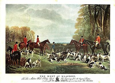 """""""The Meet at Blagdon"""" (Hunting Scene) Vintage Lithograph after John W. Snow"""