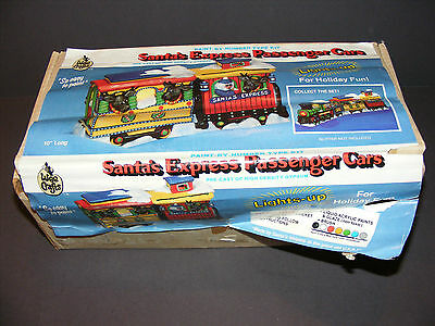 Rare Vintage Wee Crafts Lighted Santa's Express Passenger Train Cars Painted
