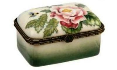 Old Tupton Ware Porcelain FLORAL TRINKET BOX - ENGLISH GARDEN Flower GIFT BOXED