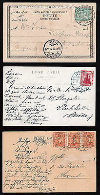 Egypt  1908/29 Used 3 Postcards From 2 Different Hotels