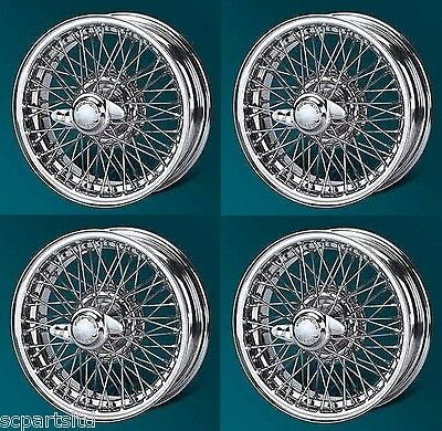 New Set Of 4 Mg Mgb And Mgb V8 Chrome Wire Wheel 4.5J X 14  60 Spokes