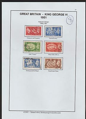 Great Britain  Page From An Old Album  1951  Values To 1 Pound (8)