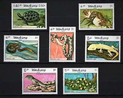 Lao 1984 - Reptiles - Snakes - Lizards - 7 Single Stamps - Mnh**