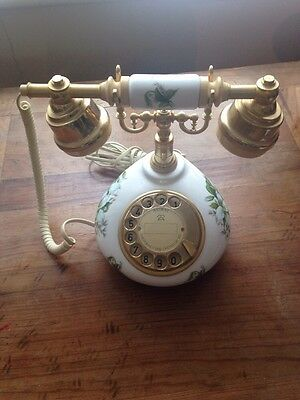 Telephone vintage, retro style with rotary dial, floral print, UK connector