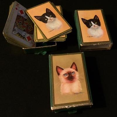 EX RARE 1940s ROBERT GUZMAN FORBES ILLUSTRATED CATS Pinochle PLAYING CARDS