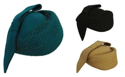 New Ladies Vtg 1940s  Retro WW2 Wartime Pill Box Felt Day Hat 3 Colour Options